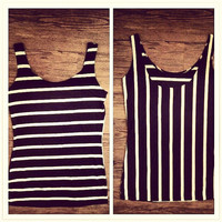 Lovers Stripe Slim Fit Low Back Tank Top Modal Jersey Small Medium Large