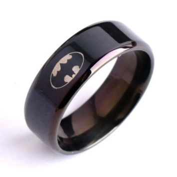 DCCKIX3 Unisex Men Women Ring Black Batman Titanium 316L Stainless Steel Polished Ring