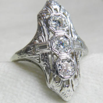 Antique Engagement Ring, Old European Cut Diamond Victorian Buttercup Setting Old European Cut Engagement Ring 14K Gold