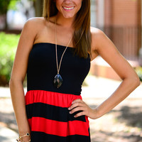 The Kickoff Dress, Black/Red