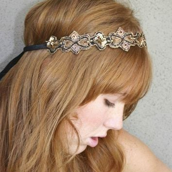 hippie chic Bohemian tie headband for women and teens, woman hair