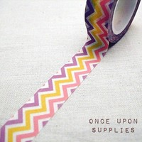 Purple Yellow Pink Chevron Stripes Washi Masking Tape