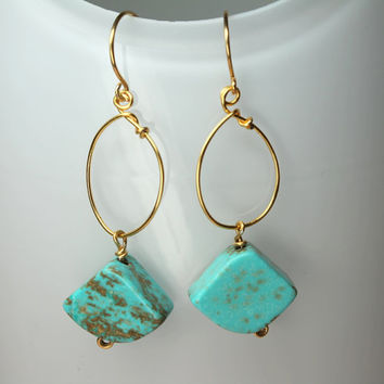 Blue Turquoise Earrings, Large Turquoise Gemstones, Gold Wire Wrapped Turquoise Dangles, December Birthstone, Southwestern Jewelry