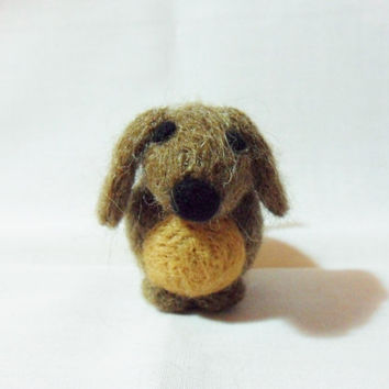 Needle Felted Dog - miniature scruffy brown dog figure - 100% shetland wool - wool felt dog - needle felted animal