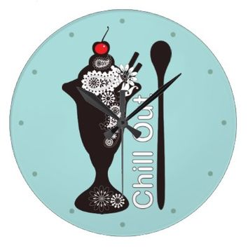 Ice Cream Sundae Filled with Paisley Pattern Funny and Cute Wall Clocks: Chill Out: Retro Style Sweets Girly Design