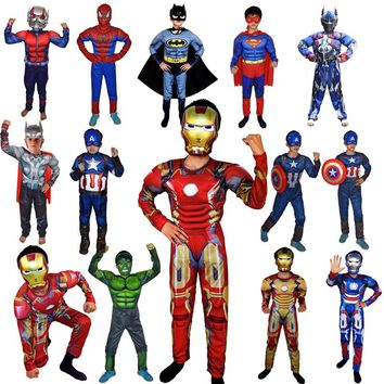 Super Hero Avengers Jumpsuit Captain America Superman Batman Hulk IronMan Thor Muscle Clothes Cosplay Costumes Children's Day