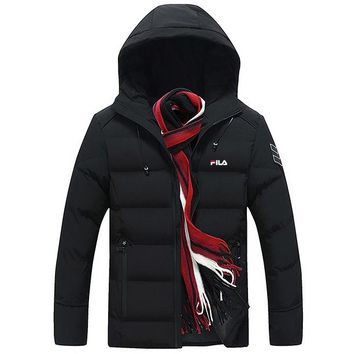 FILA winter men's thick warm casual hooded jacket down jacket Black