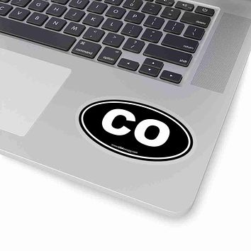 Colorado CO Euro Oval Sticker BLACK SOLID