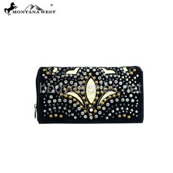 Black Montana West Bling Bling Collection Secretary Style Wallet