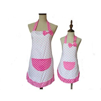 Lovely Cute Bowknot Mother and Daughter Apron Cotton Polka Dot Ruffled Kitchen Apron Avental de Cozinha Divertido