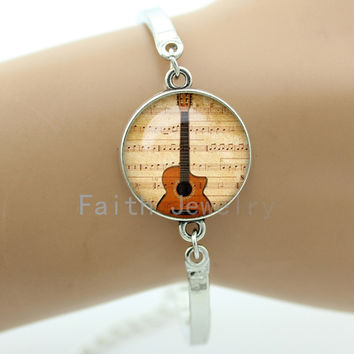 Elegant musical instrument jewelry retro Guitar picture bracelets