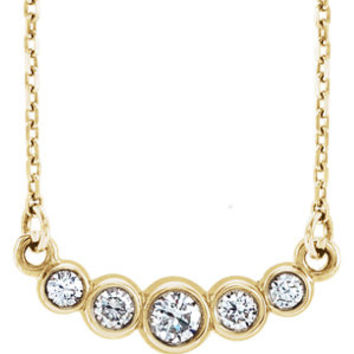"14K White Graduated Bezel Set 1/5 CTW Diamond 16-18"" Necklace"