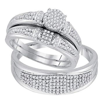 10k White Gold Round Diamond Cluster His & Hers Matching Trio Wedding Ring Set - FREE Shipping (US/CA)