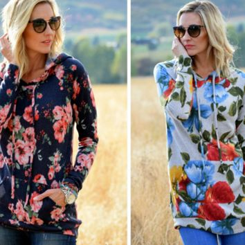 Floral Printed hooded sweater B0015431