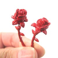 Fake Gauge Earrings: Detailed Rose Floral Flower Shaped Plug Earrings in Red