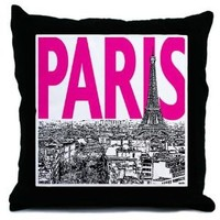 Pop Art Paris Pink and Black Decorative Throw Pillow, 18""