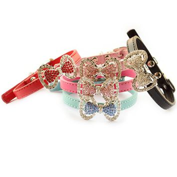 Armi store Fashion Rhinestone Bow Dog Collar Dogs Cat Princess Collars  Pet Leashes Accessories