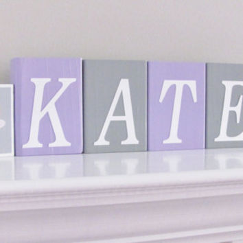 Baby Name Blocks, Baby Girl Nursery, Name Blocks, Lavender Gray, Baby Girl, Baby Gift, Baby Shower, Nursery Letters, Name Blocks, Photo Prop