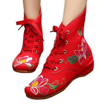 Fashion Online Vintage Beijing Cloth Shoes Embroidered Boots 11-01  Red 35