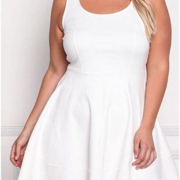 C| Chicloth Fashion Summer Sleeveless Solid Casual Women's Plus Size Dress