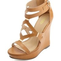 Strappy Cut-Out Platform Wedges by Charlotte Russe - Cognac