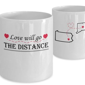 Valentine's Day Coffee Mug CUSTOM Gift for Long Distance Relationships - Love Will Go The Distance