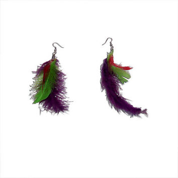 Purple, Red, and Lime Green Feather Earrings
