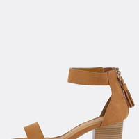Single Strap Open Toe Block Heels TAN | MakeMeChic.COM