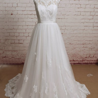 Sheer Lace Back Wedding Dress, Sweetheart Neckline Wedding Dress, Lace&Chiffon Wedding Bridal Dress with Waistband
