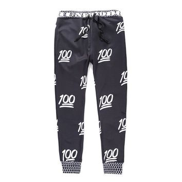 100 emoji joggers pants black for men/boy sweatpant (XL)