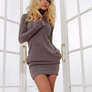 Long Sleeve Thumb Out Maternity Dress