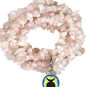 Horned God Charm Clip Rose Quartz Crystal Gem Wrap Bracelet or Necklace