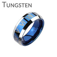 The Blue Roman -FINAL SALE Trendy Design Roman Numerals Blue and Tungsten Comfort-Fit Band