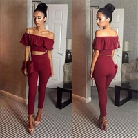 2 piece crop top and pants Women Set 2017 Summer Autumn New Fashion Ruffles Top and Pants Casual Clothing Women Suit Set