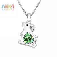 collares Jewelry Sale New Trendy Women bijouterie china Chinese Zodiac Crystal Rat Necklace Crystals from SWAROVSKI #106676