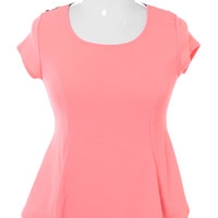 Plus Size See Through Back Flare Pink Top, Plus Size Clothing, Club Wear, Dresses, Tops, Sexy Trendy Plus Size Women Clothes