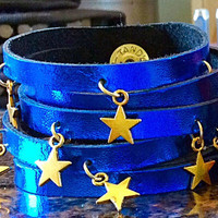 Leather Cuff Fringe Bracelet With Gold Stars Charms