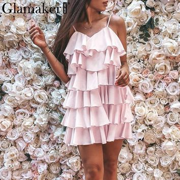 Glamaker Ruffle chiffon bodycon blue dress Women backless short beach pink sundress Elegant sexy female summer party mini dress