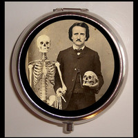 Victoriana Edgar Allan Poe with Skull Skeleton Medical Gothic Pillbox Pill Box Case Holder for Vitamins Pills