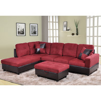 Beverly Fine Furniture Della Left Chaise Sectional with Storage Ottoman (Set of 3)
