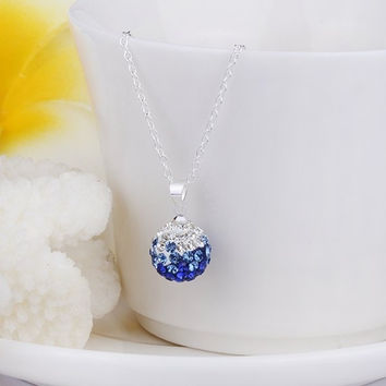 Rhinestoned Ball Shape Delicate Pendant Necklace For Women (Color: Blue) = 1842981252