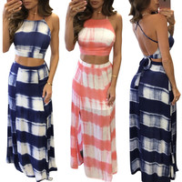 2017 Hot fashion ladies bandage dress 2 piece striped long maxi dress sexy backless side split summer print dress