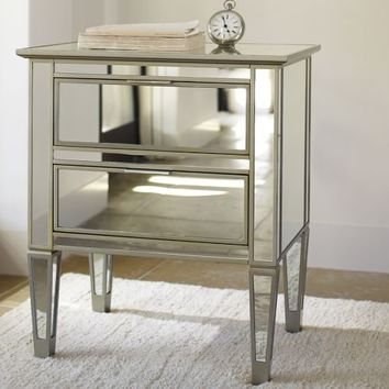 Park Mirrored Bedside Table, Champagne finish