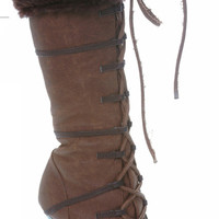 Viking Knee High Boot With Fur