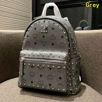 MCM High Quality Classic Women Leather Daypack Rivet Travel Bookbag School Bag Backpack Grey