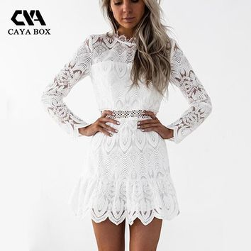 CAYA BOX White Sexy Lace Long Sleeve Dress Hollow Out Black Women  A Line Summer Bohemian Dress