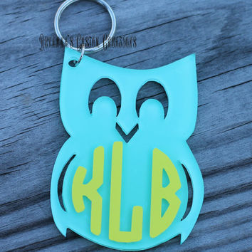 Circle Monogram Owl Solid Color Key Chain