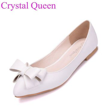 White flower flats casual shoes for women pointed toe ballet flats lady shoes wedding shoes plus size flat heel casual shoes
