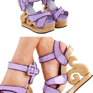 Carved Heel Lilac Sandals
