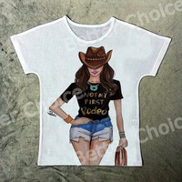 "Reba Vintage Western Style Cowgirl ""Not My First Rodeo"" Printed Tee"